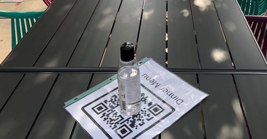 QR code laminated sheets lay on restaurant table
